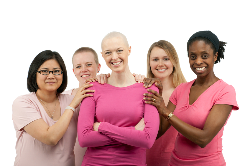 A diverse group of women supporting breast cancer awareness.100% of our proceeds from 2011 sales will be donated to breast cancer awareness organizations chosen by a breast cancer patient within this shoot. .